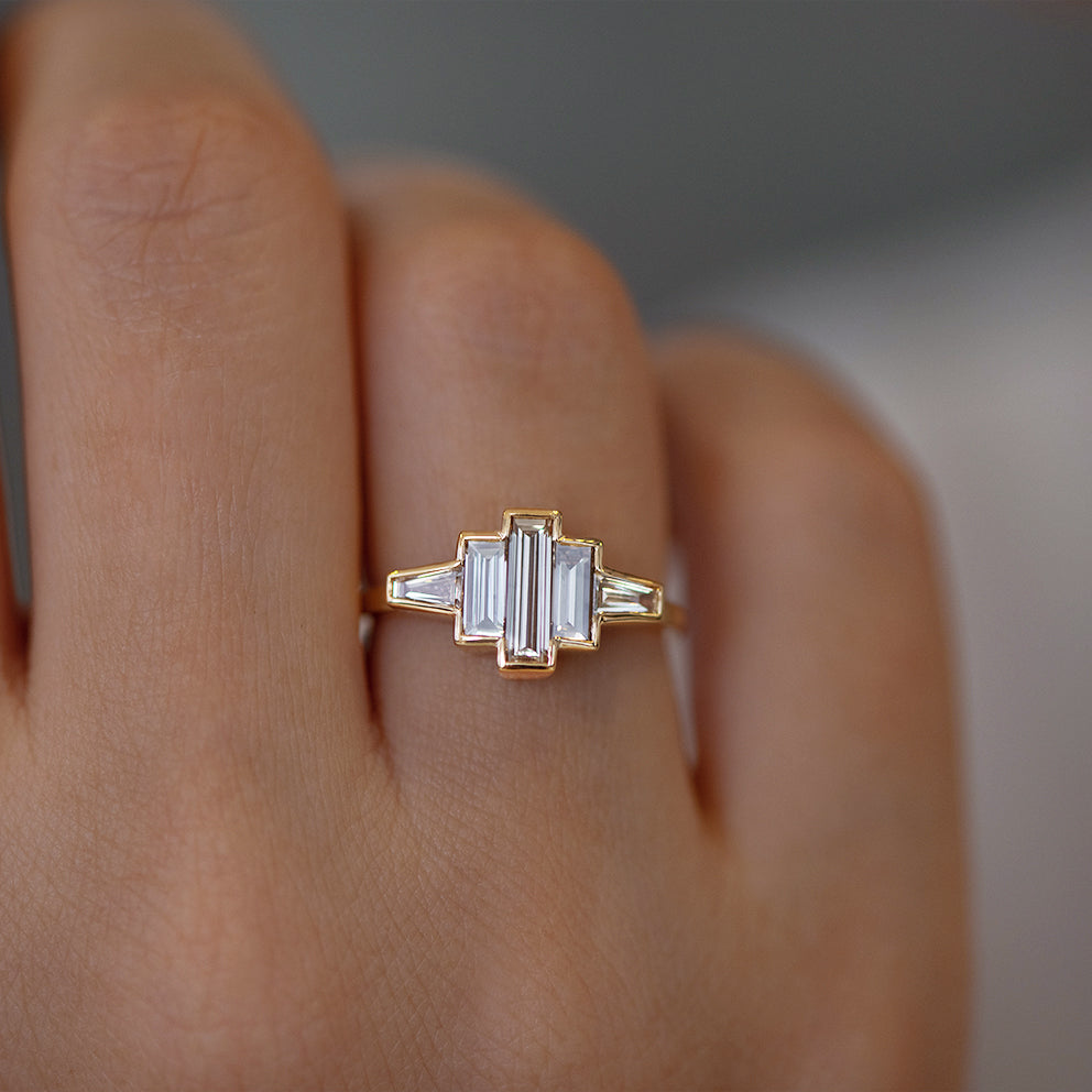 Art Deco Baguette Diamond Ring Detail Shot on Hand