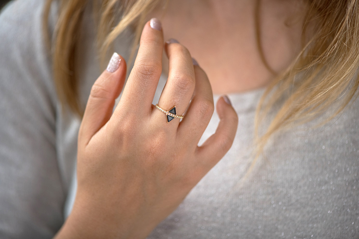 Geometric Engagement Ring - Black Diamond Ring