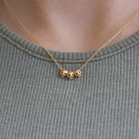Gold Skull Necklace on Body