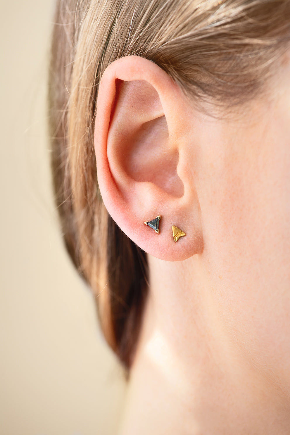 Gold Stud Earring - Arrow Earring on Ear in Set