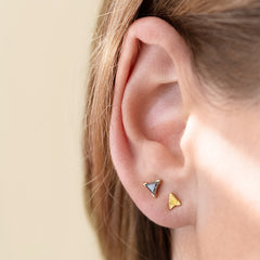 Gold Stud Earring - Arrow Earring on Ear in Light