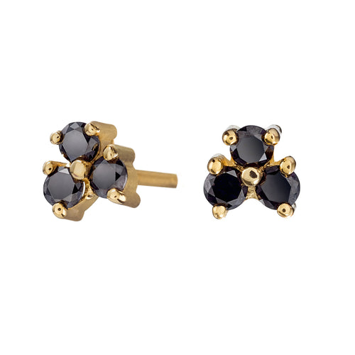 Gold-and-Black-Diamond-Earrings-Black-Pansy-'Albertine'-Studs-closeup