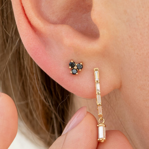 Gold-and-Black-Diamond-Earrings-Black-Pansy-'Albertine'-Studs-on-the-ear