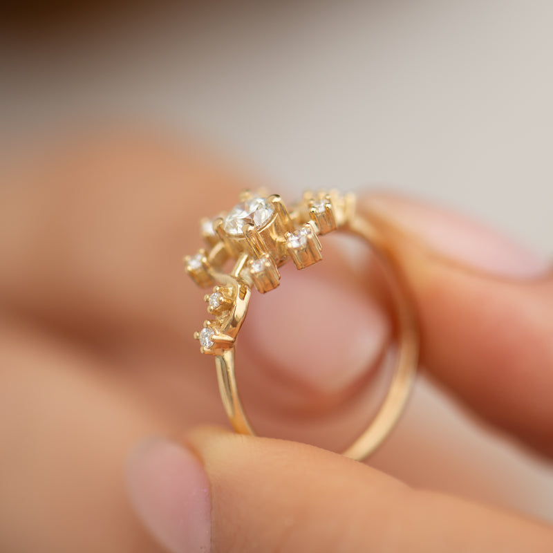 Golden-Compass-Engagement-Ring-with-Brilliant-Cut-Diamonds-side-shot