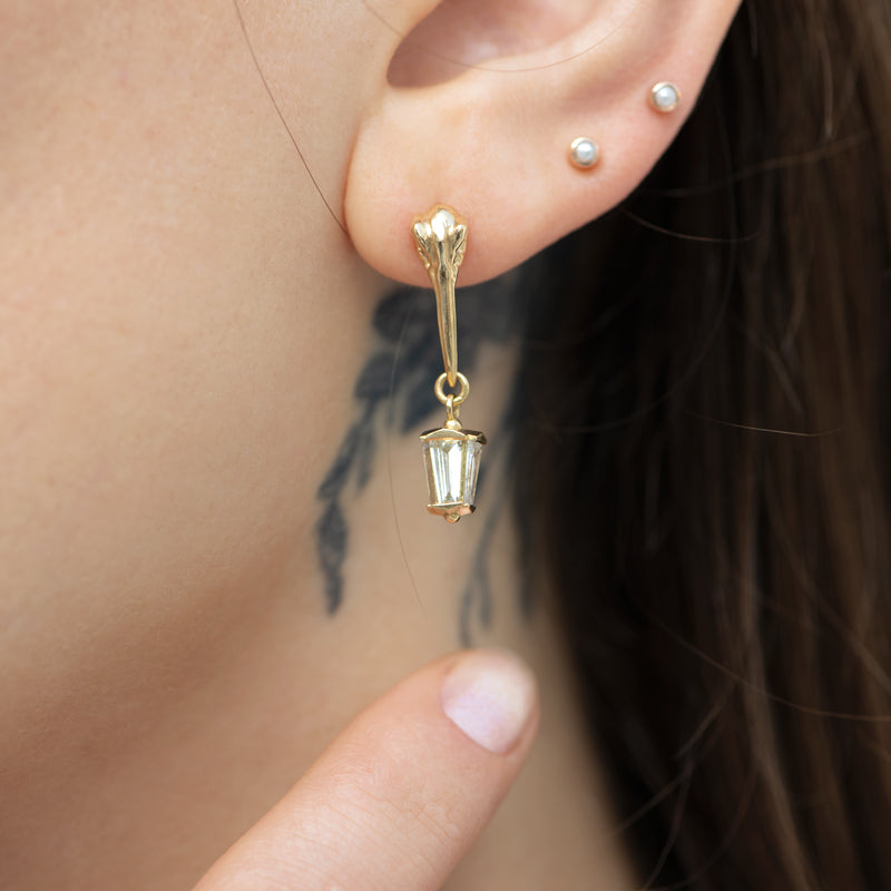 Gothic-Bird-Skull-Earring-with-a-Diamond-Lantern-Pendant-closeup-shot