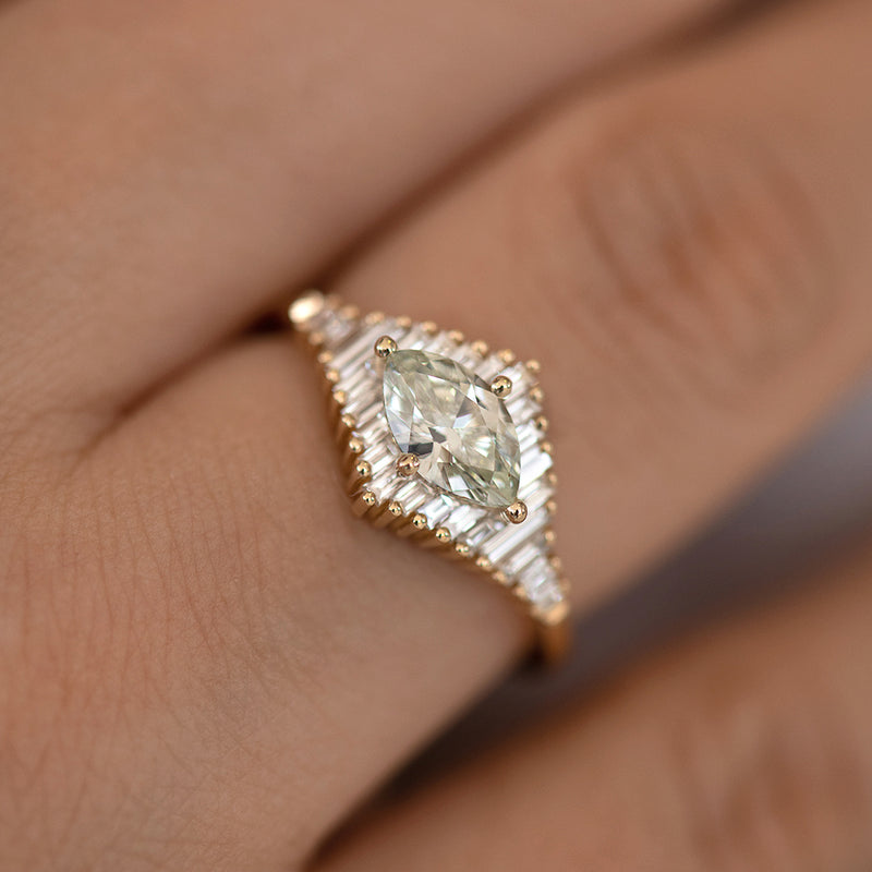 Green Diamond Engagement Ring with Baguette Diamonds - Fancy Color Diamond Ring on hand detail shot