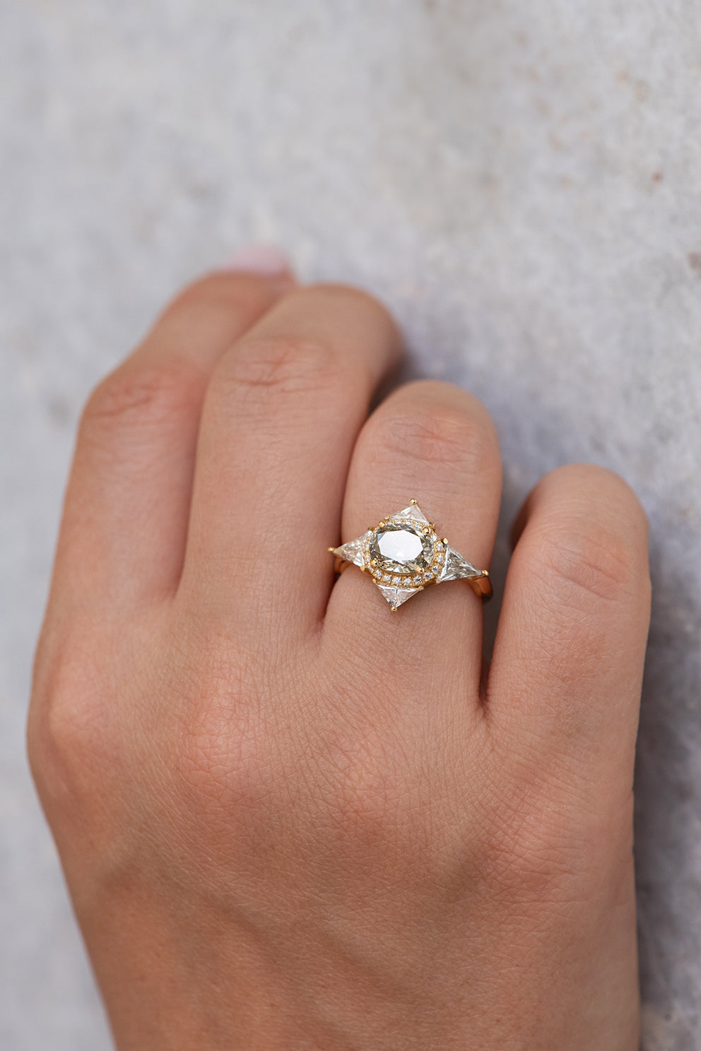 Green Diamond Engagement Ring - OOAK Fancy Color Diamond Ring in Sunlight on Hand