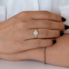 Green Diamond Engagement Ring with Baguette Diamonds - Fancy Color Diamond Ring on hand front shot