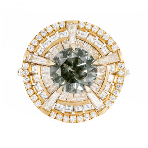 Grey Diamond Temple Ring mit langen Tapferen Baguette Diamanten
