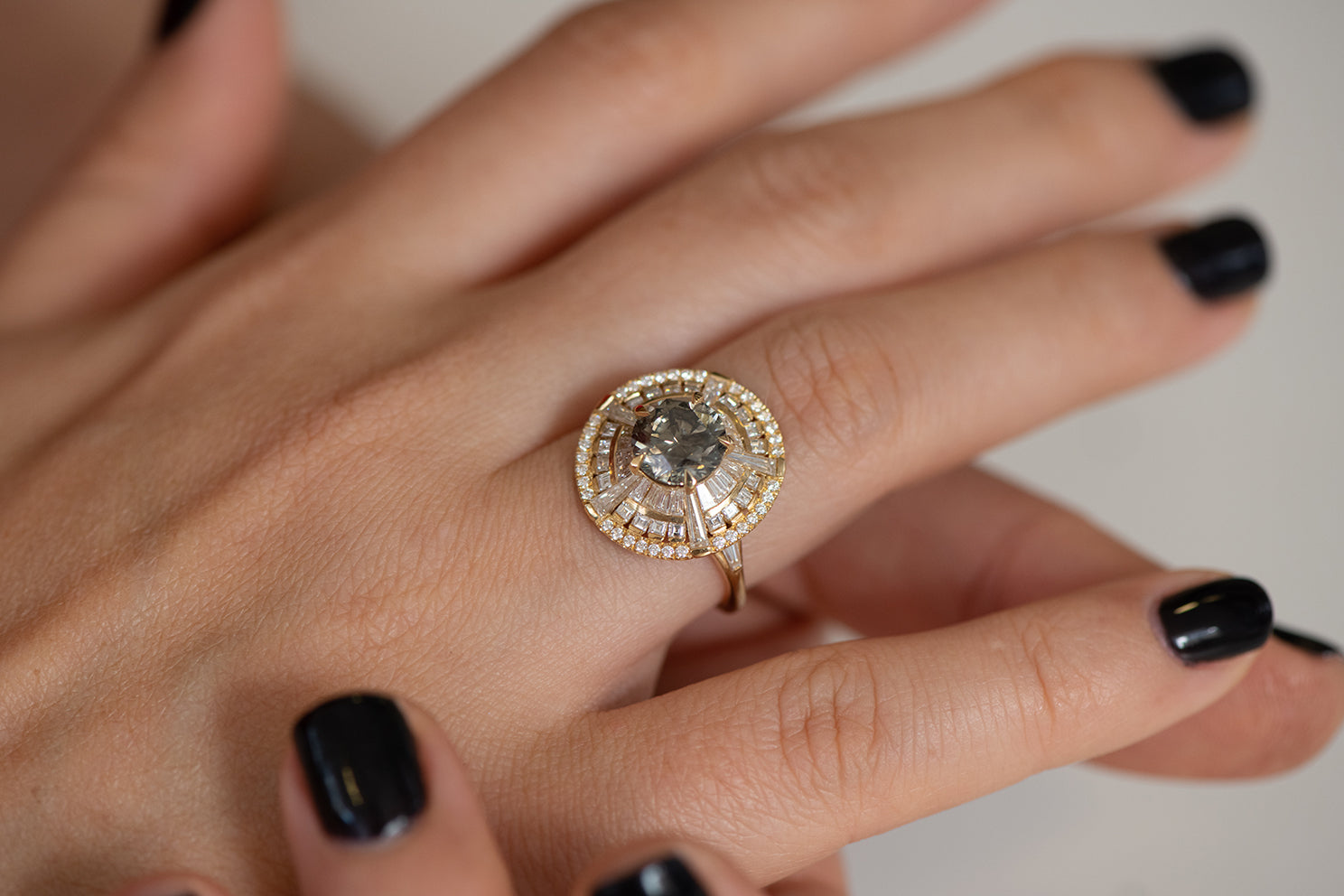 Grey Diamond Temple Ring with Long Tapered Baguette Diamonds on Hand alternate angle
