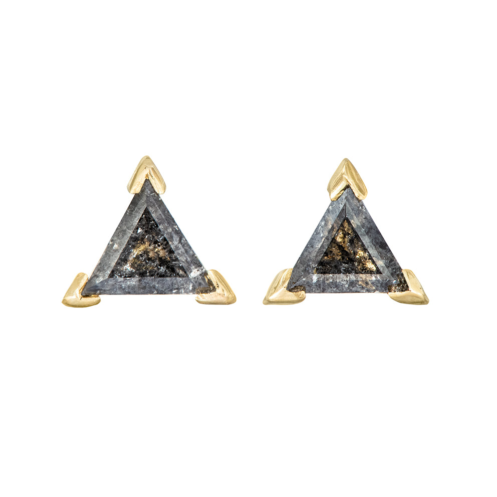 Grey Triangle Diamond Stud Earrings