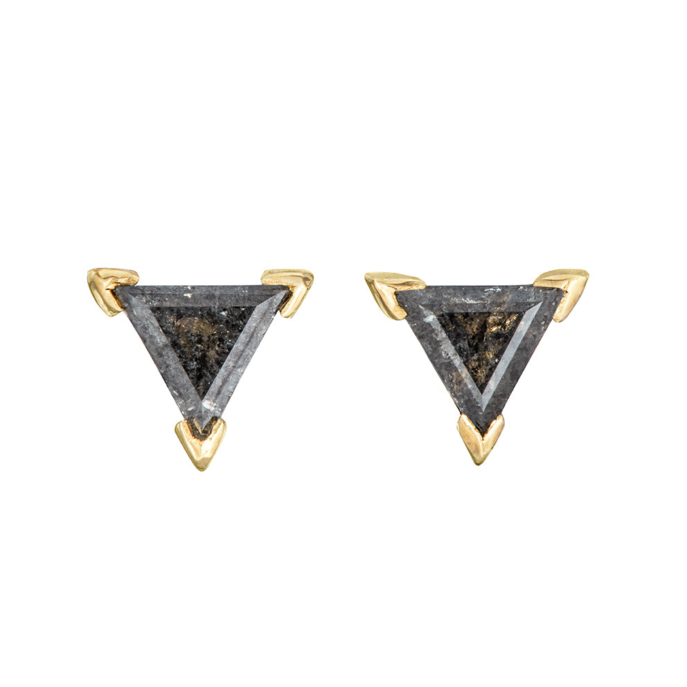 Grey Triangle Diamond Stud Earrings Other Angle