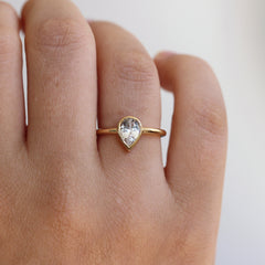 White Sapphire Engagement Ring On Finger