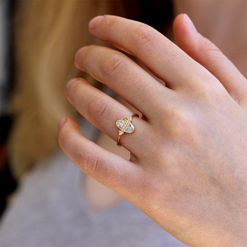 Half Moon Diamond Engagement Ring On Finger