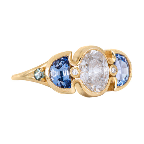 Half Moon Sapphire and Diamond Ring - Moon Phase Ring Side view