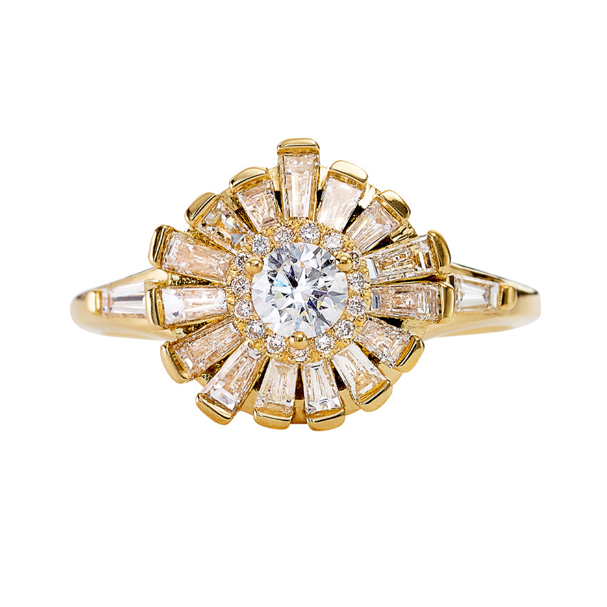 Halo Ring with Baguette Diamond Frills - Asymmetric Halo Engagement Ring