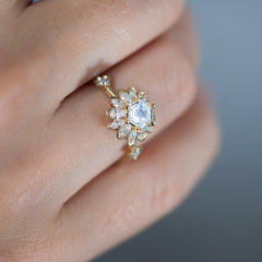 Hexagon-Engagement-Ring-with-Multiple-Cut-Diamond-Petals-closeup-side-shot