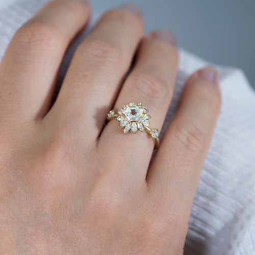 Hexagon-Engagement-Ring-with-Multiple-Cut-Diamond-Petals-side-shot