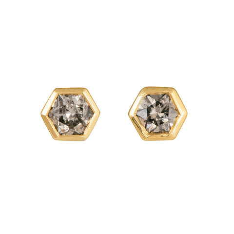Hexagon Diamond Earrings on White