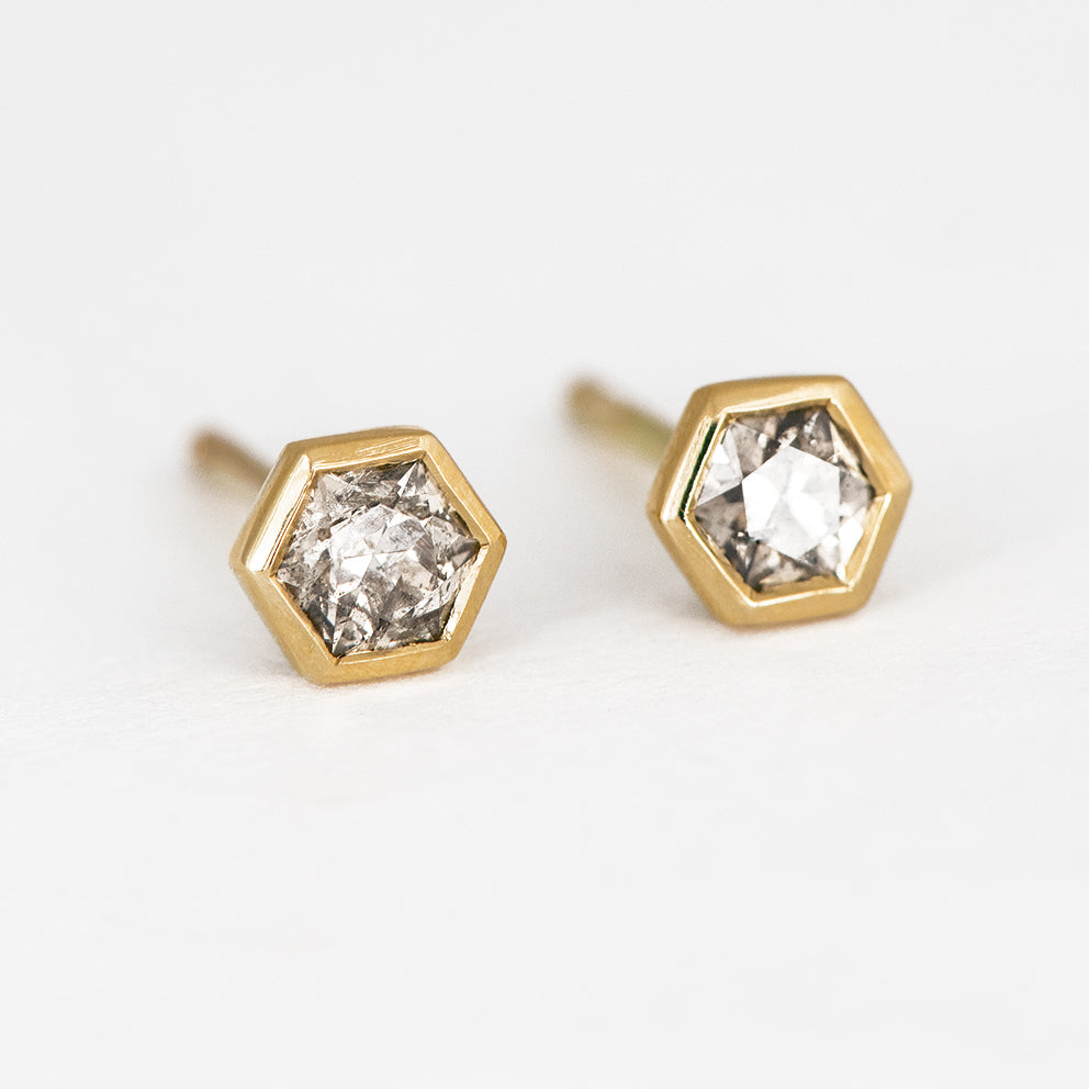 Hexagon Diamond Earrings Other View