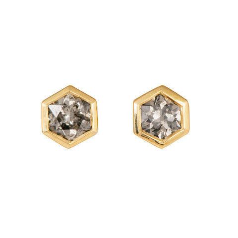 Hexagon Diamond Earrings on White Second Angle
