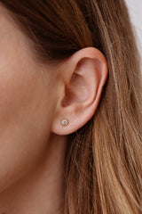 Hexagon Diamond Earrings on Ear Up Close