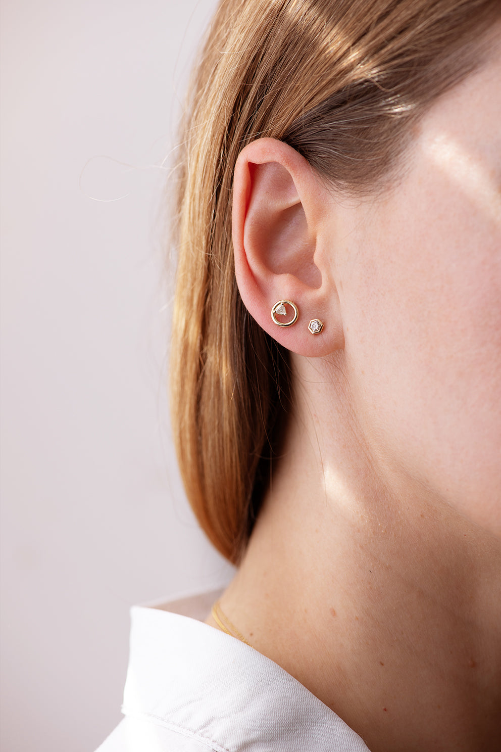 Hexagon Diamond Earrings on Ear in Set Second View
