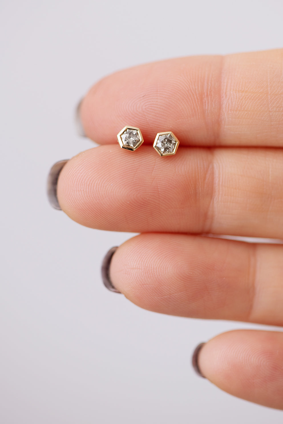 Hexagon Diamond Earrings Size Comparison