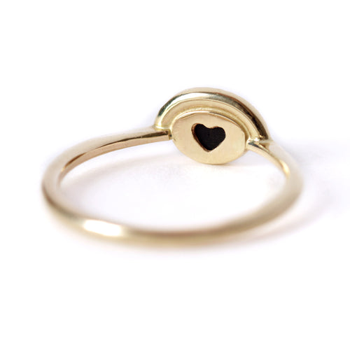 Hidden Heart Ring with Onyx and Pave Diamonds