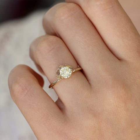 One Carat Engagement Ring with Brown Diamonds