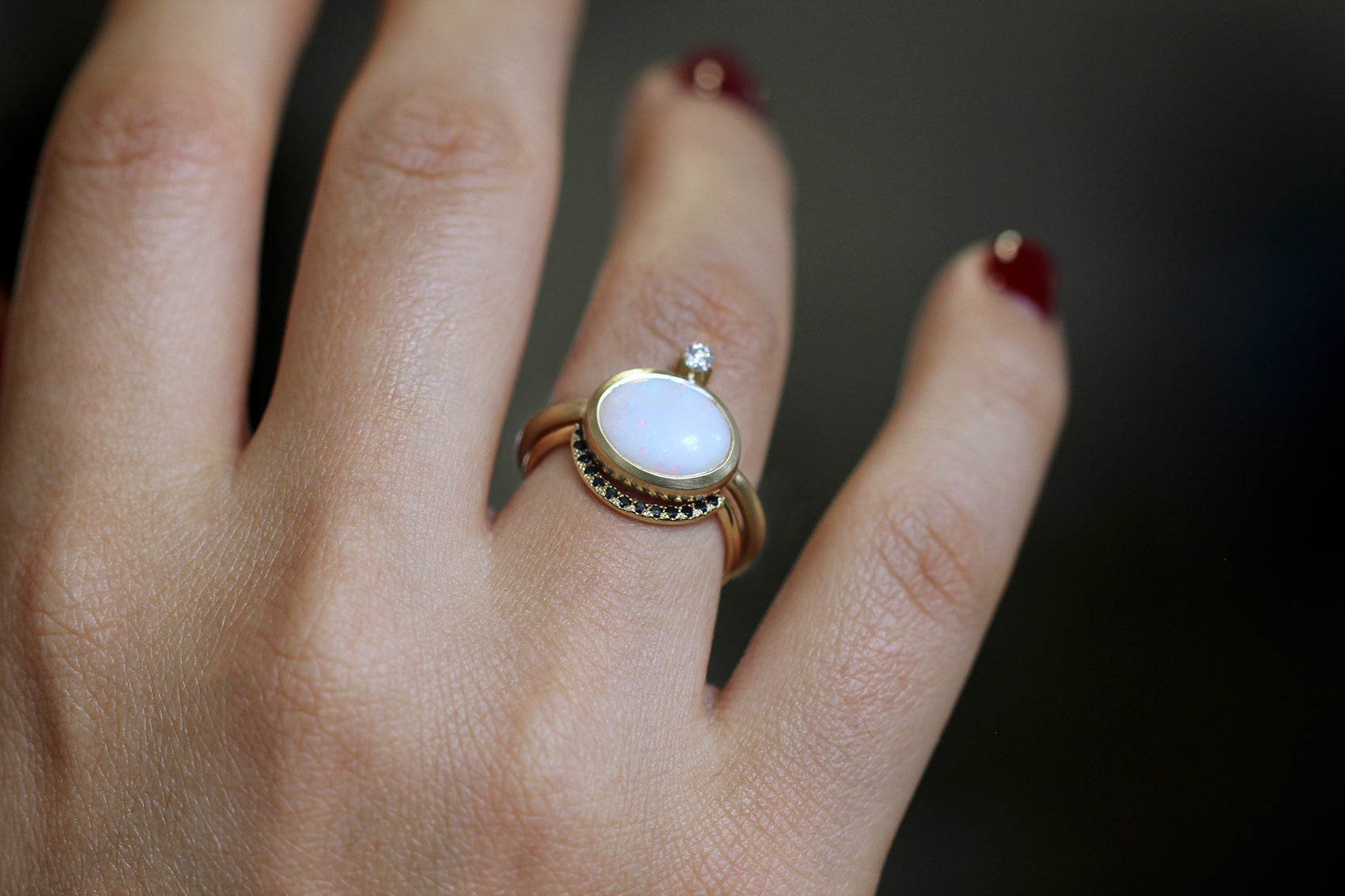 Gold Ring Set With Opal - Opal Diamond Engagement Ring