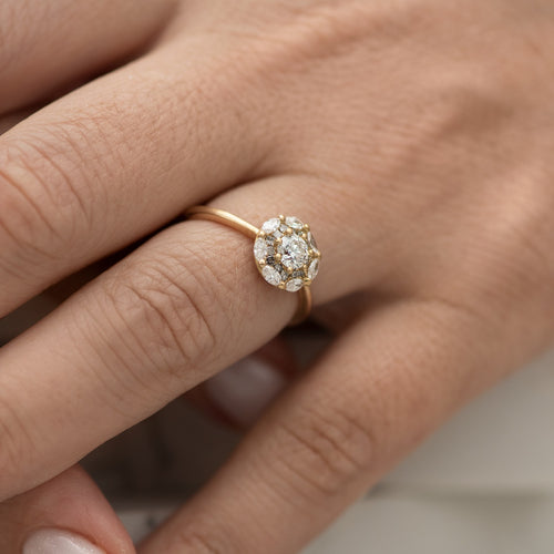 Mandala-Engagement-Ring-with-White-and-Grey-Diamonds-side-shot