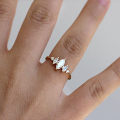 Marquise Diamond Engagement Ring On Finger