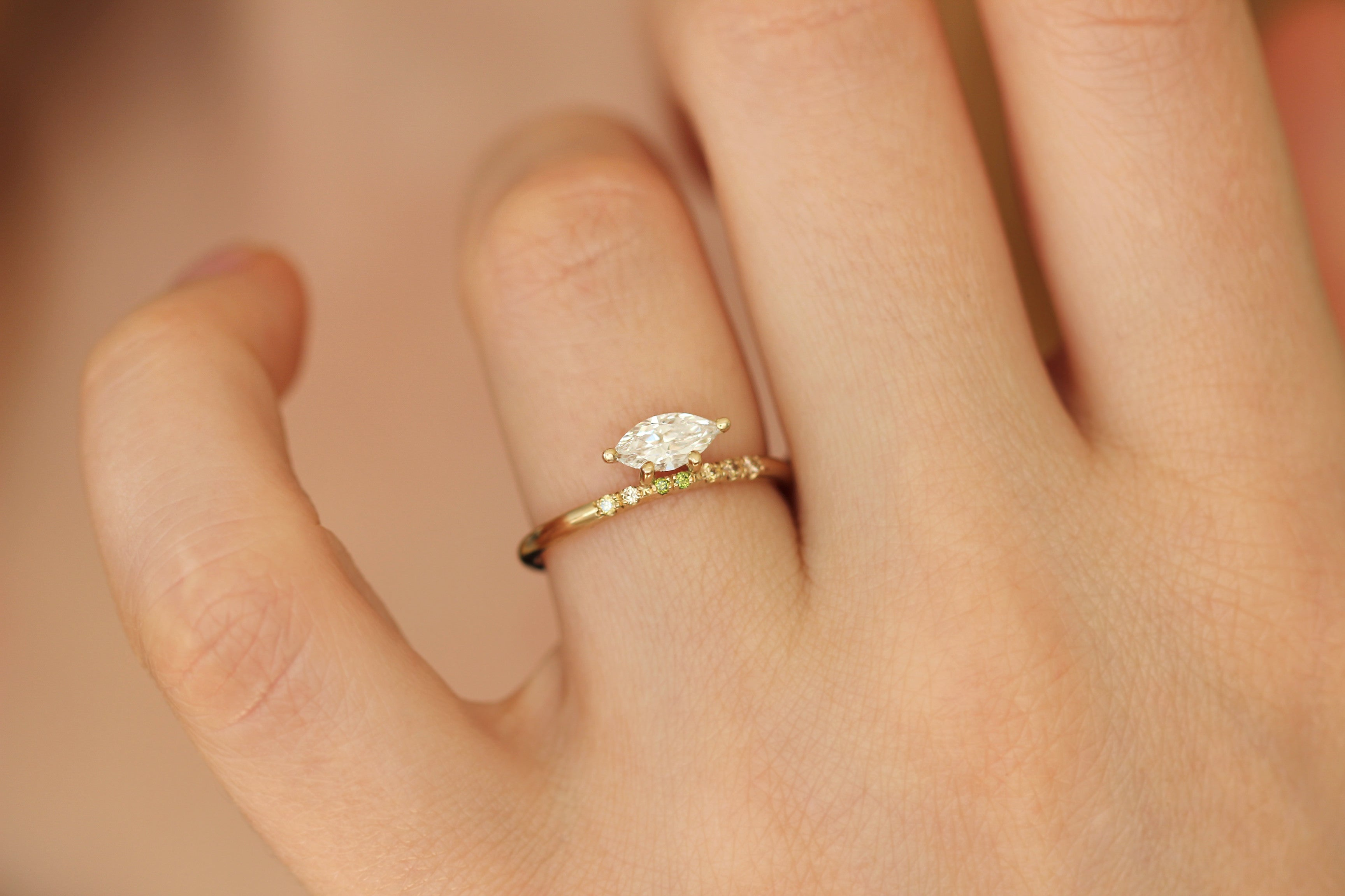 Attractive Marquise Diamond Ring On Finger