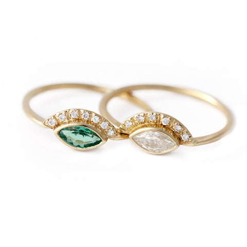 Marquise Emerald Ring with Half Diamond Halo