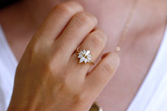 Marquise cut Diamond Cluster Engagement Ring On Finger