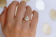 Marquise cut Diamond Cluster Engagement Ring On Hand