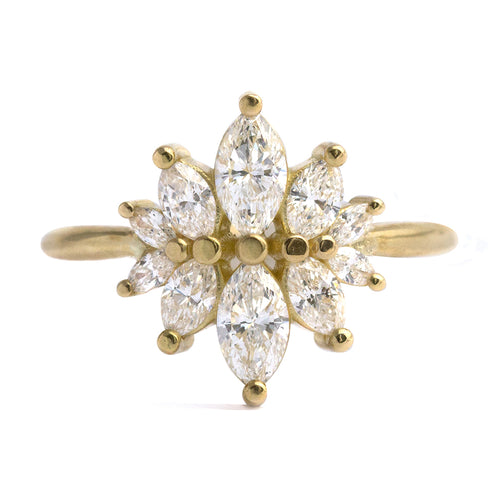 Marquise cut Diamond Cluster Engagement Ring