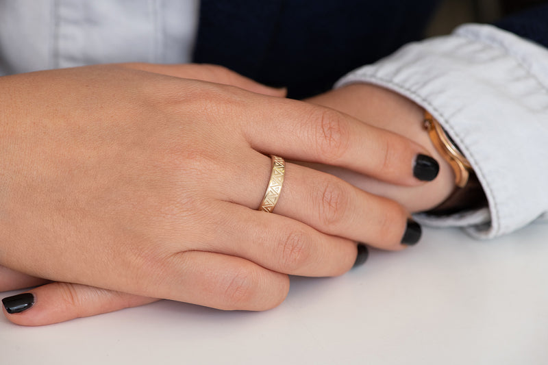 Men's Geometric Wedding Band Other View on Hands