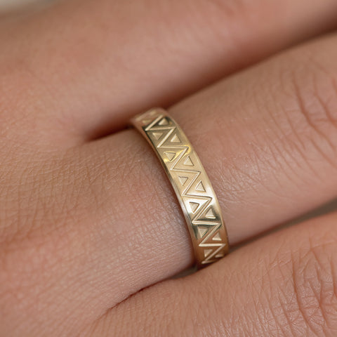 Men's Geometric Wedding Band Detail Shot on Hand
