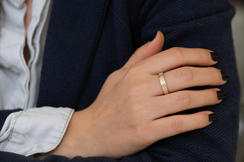 Men's Geometric Wedding Band Side View on Hand