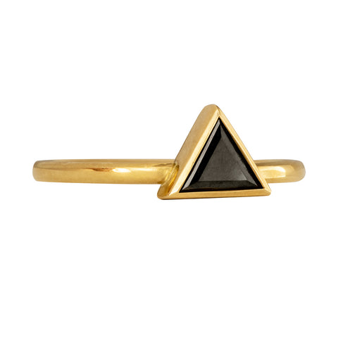 Minimalist Black Diamond Ring - Triangle Cut Diamond Ring Side View on White