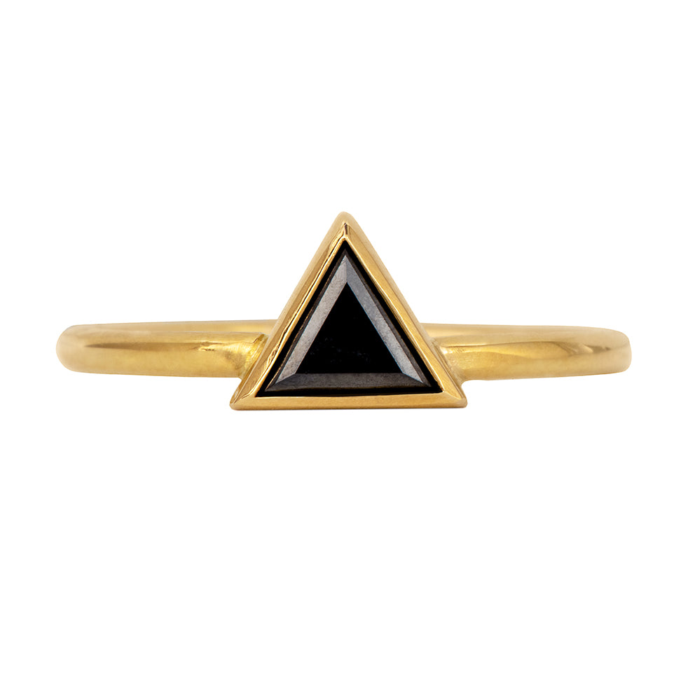 Minimalist Black Diamond Ring - Triangle Cut Diamond Ring Front View on White