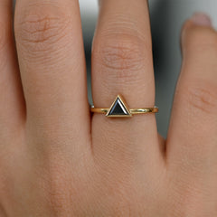 Minimalist Black Diamond Ring - Triangle Cut Diamond Ring on Hand Up Close