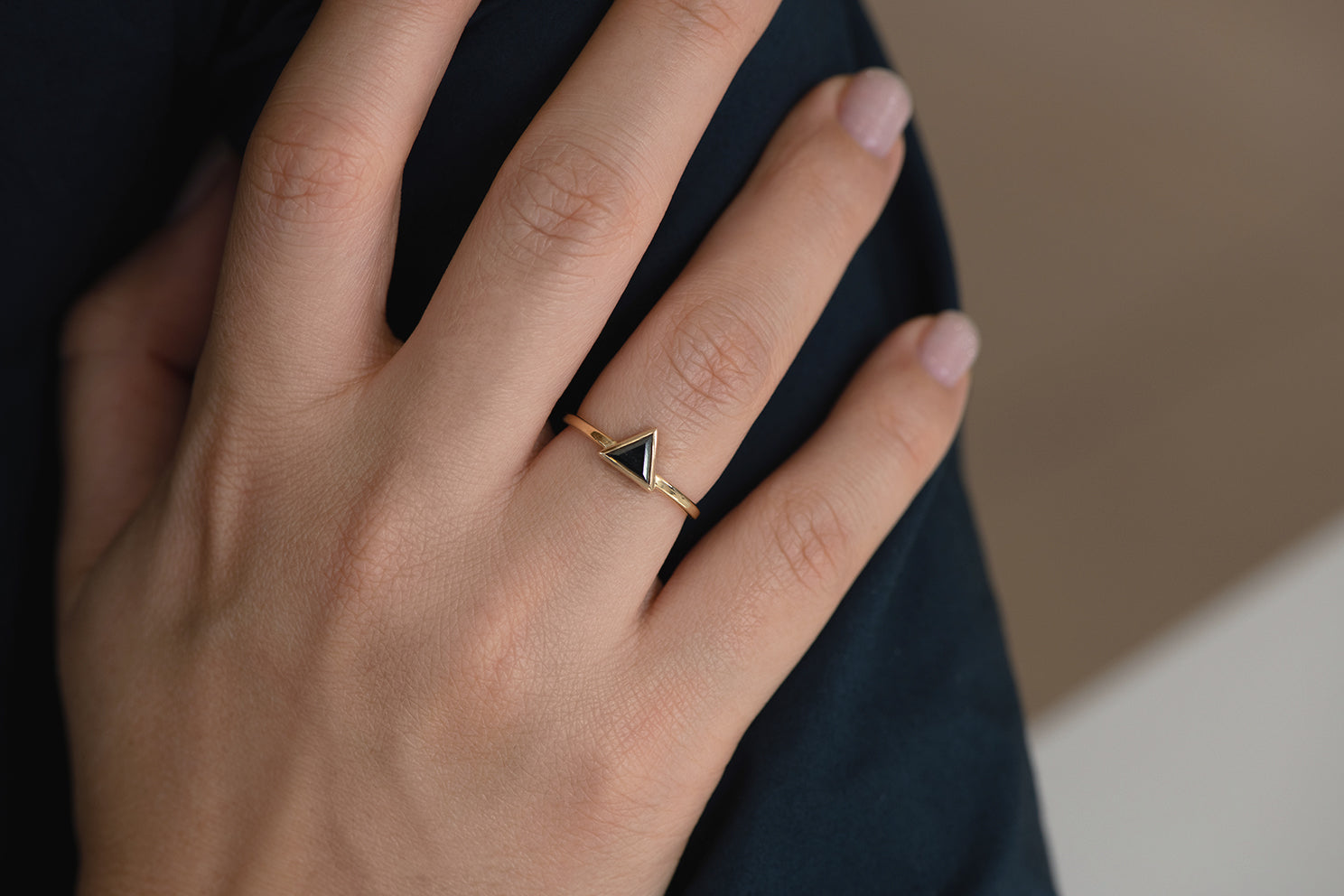 Minimalist Black Diamond Ring - Triangle Cut Diamond Ring on Hand Front Shot