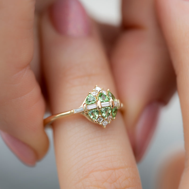 Mint-Garnet-and-Diamond-Cluster-Engagement-Ring-side-shot