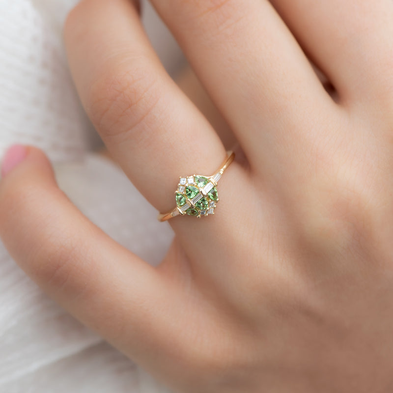 Mint-Garnet-and-Diamond-Cluster-Engagement-Ring-top-shot