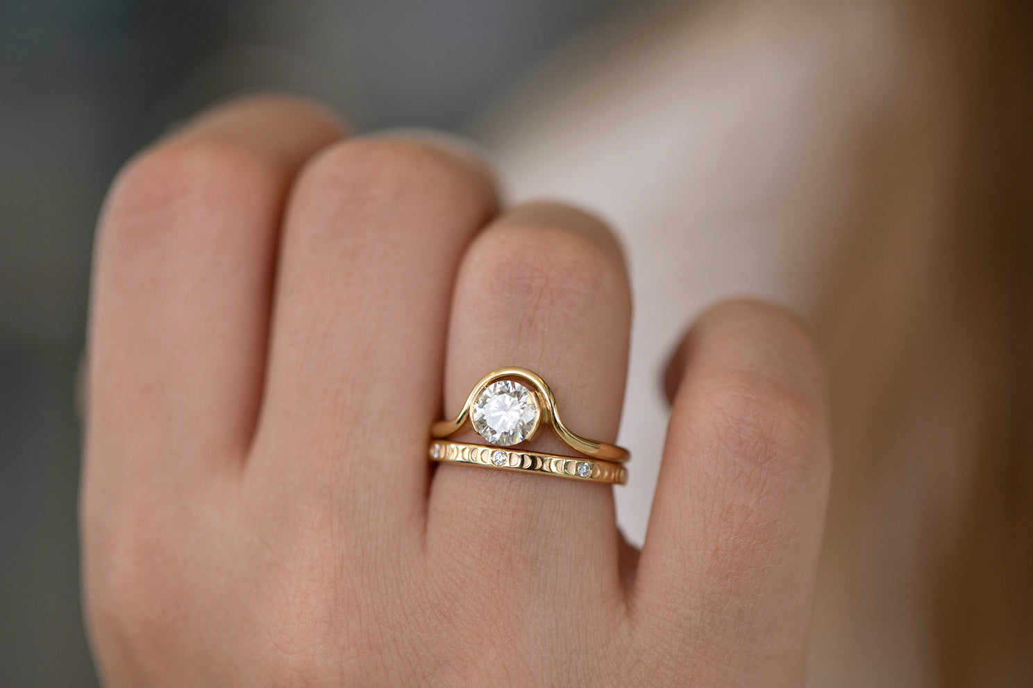 Moon Phase Ring with Full Moon Diamonds - Thin on hand in set side angle