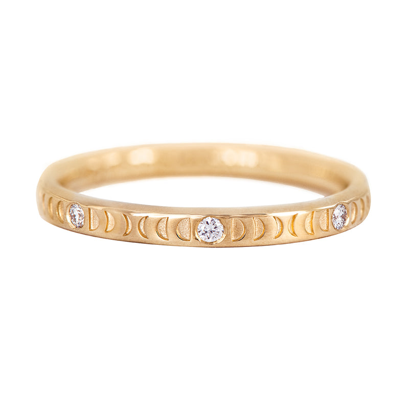 Moon Phase Ring with Full Moon Diamonds - Thin