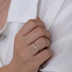 Curved Diamond Wedding Band on shirt